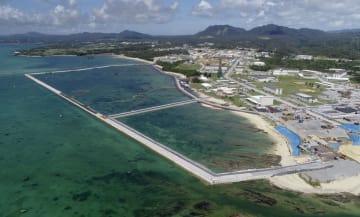 米軍普天間飛行場の移設先として工事が進められる辺野古沿岸部=8月、沖縄県名護市(小型無人機から)