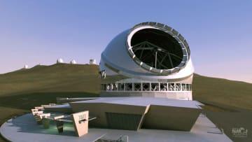 米ハワイ島に建設が計画されている超大型望遠鏡「TMT」の完成予想図(国立天文台提供)