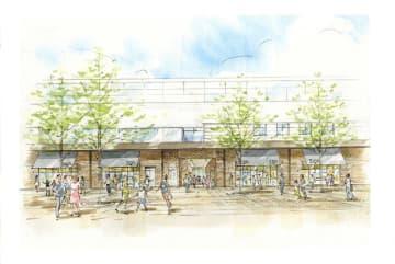 おおたかの森駅高架下に開業する商業施設「こかげテラス」のイメージ図