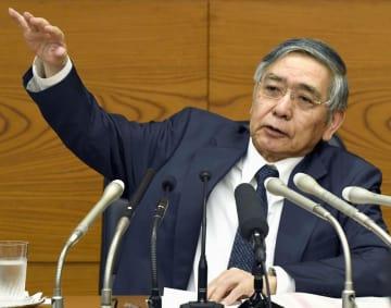 金融政策決定会合後、記者会見する日銀の黒田総裁=31日午後、日銀本店