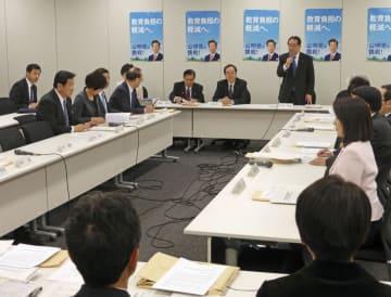外国人労働者の受け入れを拡大する法改正案を議論する公明党の政調全体会議=31日午後、国会