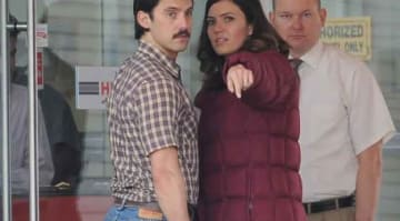 "Mandy Moore back at work from the holidays filming new scenes on the set of ""This Is Us"" with co star Milo Ventimiglia in Burbank Ca."