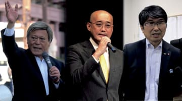 長崎市長選に出馬を表明した(左から)高比良氏、橋本氏と立候補する見通しの田上氏のコラージュ