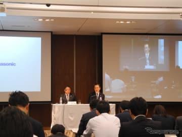 パナソニックの決算会見の様子。右が津賀一宏社長