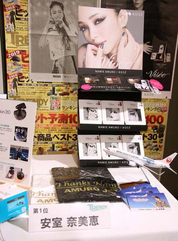 月刊情報誌「日経トレンディ」が選ぶ「2018年ヒット商品ベスト30」の首位に選ばれた安室奈美恵さんの関連商品