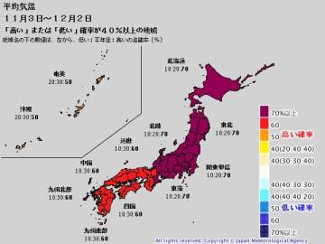 平均気温の1か月予報(11月3日~12月2日) 出典:気象庁ホームページ
