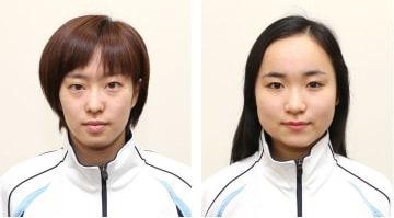 石川佳純(左)、伊藤美誠