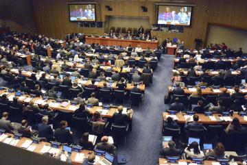 1日、日本の核兵器廃絶決議案を採択した国連総会の第1委員会=ニューヨーク(共同)