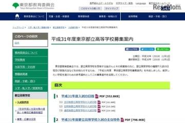 平成31年度(2019年度)東京都立高等学校募集案内