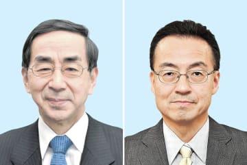 来春の福井県知事選への出馬を表明している現職の西川一誠氏(左)、前副知事の杉本達治氏(右)