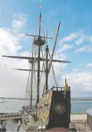 宮城県石巻市の宮城県慶長使節船ミュージアムにあるサン・ファン・バウティスタ号。船体は被災し、老朽化も進む