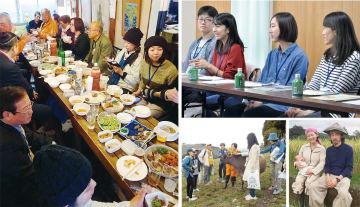 今年3月に町が主催した移住者交流会(左)、10月の暮らしてみようツアーに参加した酪農家志望の20代カップルと、獣医を目指す大学生の娘と母(右上)、牧場でツアーの参加者をもてなす酪農家(中央下)共和地区に移住して結婚し、第一子が誕生した山田健太さん・陽子さん夫妻(右下)