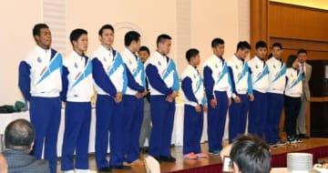 福井国体で好成績を収めたボクシングの選手たち=鹿児島市
