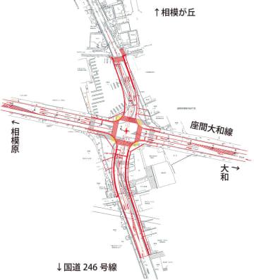 小松原交差点の設計図面=座間市提供