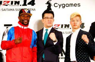 「ルールと体重の交渉はこれから」と榊原委員長(中央)。しかし那須川(右)は「何でもいい」