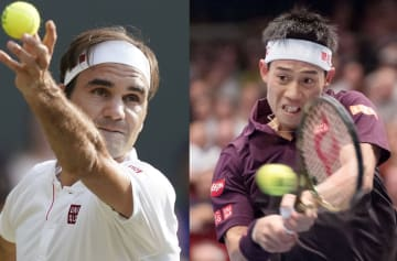 \Federer (L) and Nishikori