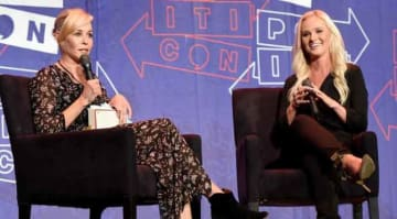 PASADENA, CA - JULY 29: Chelsea Handler (L) and Tomi Lahren at 'Chelsea Handler in Conversation with Tomi Lahren' panel during Politicon at Pasadena Convention Center on July 29, 2017 in Pasadena, California. (Photo by Joshua Blanchard/Getty...