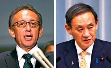 (左)菅官房長官との会談を終え、記者の質問に答える玉城デニー知事(右)記者会見する菅官房長官=6日午後、首相官邸