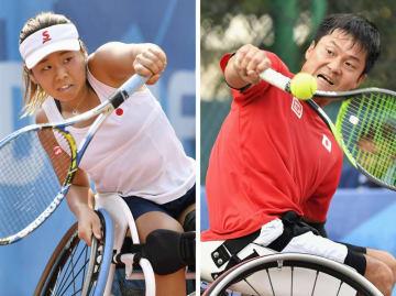 ジャカルタ・アジアパラ大会の車いすテニス男女シングルスで優勝した国枝慎吾(右)と上地結衣。2020年東京パラリンピックの出場権を獲得した(共同)