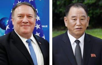 左からポンペオ米国務長官(ロイター=共同)、北朝鮮の金英哲朝鮮労働党副委員長(UPI=共同)