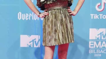 Lindsay Lohan Shined In A Gold Dress At 2018 MTV Europe Music Awards