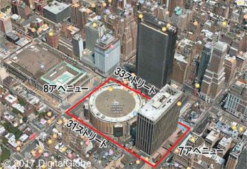7&8アベニュー、31&33ストリートの間にあるマディソンスクエアガーデン。駅はその真下の地下にある