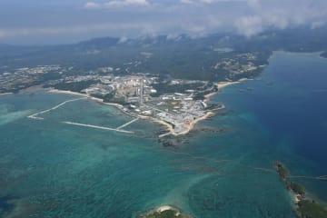 5月30日、護岸工事が進行していた名護市辺野古沖(2018年撮影)