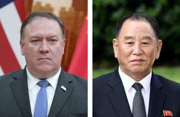 左からポンペオ米国務長官(ゲッティ=共同)、北朝鮮の金英哲労働党副委員長(UPI=共同)