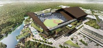天然芝フィールドと開閉式屋根を持つ球場のイメージ。(画像: 発表資料より)
