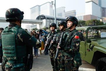 マカオ警察総局によるテロ対策訓練に初参加した中国人民解放軍駐マカオ部隊=2018年11月8日、マカオドーム(写真:GCS)