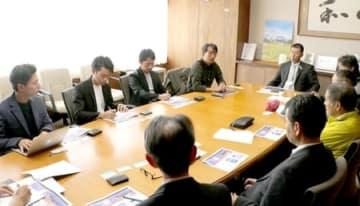 スノーライトフェスに向けて、湯沢町の観光・行政関係者を交えて行われた打ち合わせ=町役場
