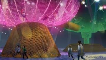 大きな2つの木をモチーフにネットを張り巡らせた「巨大ネットの森SUMIKA」の外観イメージ