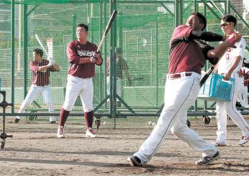 全力でバットを振る野手陣
