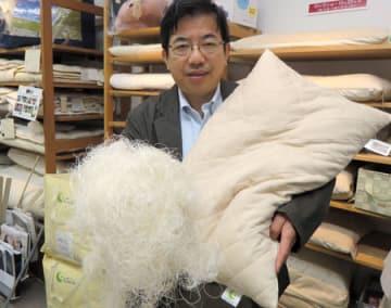 絹糸(左)を詰め物に使ったオリジナル枕を手にする沢田さん(滋賀県長浜市神前町・沢田商店)