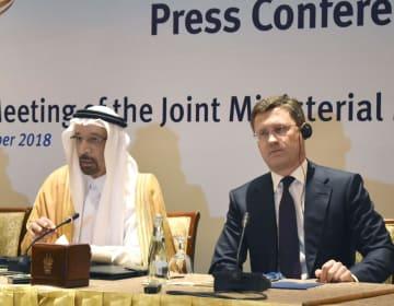 11日、アブダビで産油国の会合後に記者会見するサウジアラビアのファリハ・エネルギー産業鉱物資源相(左)とロシアのノバク・エネルギー相(共同)