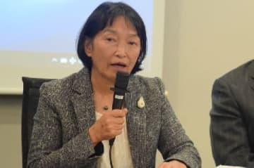 西鉄バスジャック事件の被害者・山口由美子さん(11月6日、東京・霞が関の弁護士会館)
