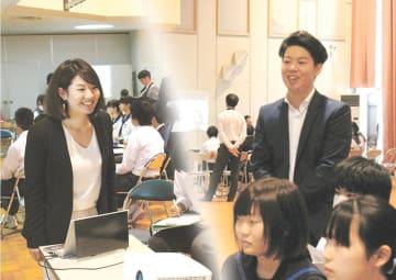被災地で人材育成に尽力する佐藤さん(右)と妻圭亜希さん=10月3日、宮城県南三陸町志津川中(写真は合成)