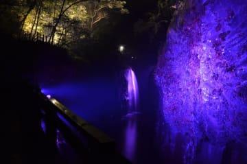 女性に対する暴力根絶を願い、紫色にライトアップされた真名井の滝と柱状節理=12日午後、高千穂町・高千穂峡