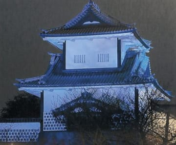 青い石川門で糖尿病啓発