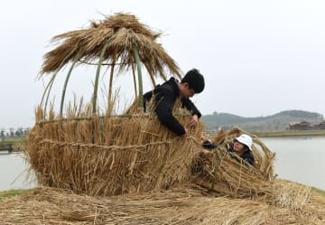 南京の大学生、「わらアートの景観」に挑戦