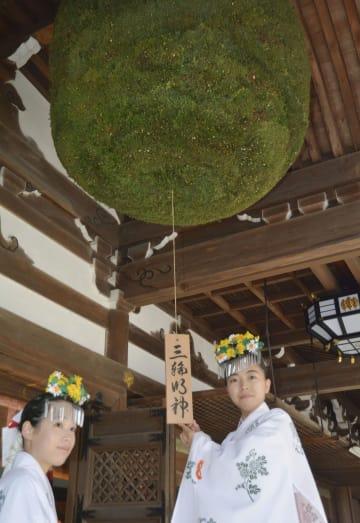 奈良県桜井市の大神神社で新しく掛け替えられた大杉玉=13日
