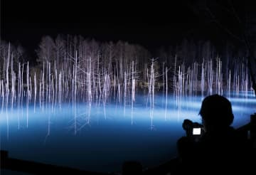 LEDの照明で幻想的にライトアップされた北海道美瑛町の観光名所「青い池」=13日夜