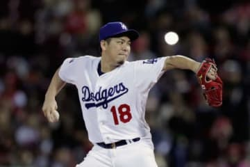 日米野球第4戦に先発し2回を無失点に抑えたドジャース・前田健太【写真:Getty Images】