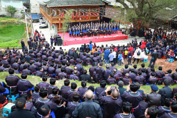 トン族の村で牛腿琴の音楽祭開催 貴州省榕江県
