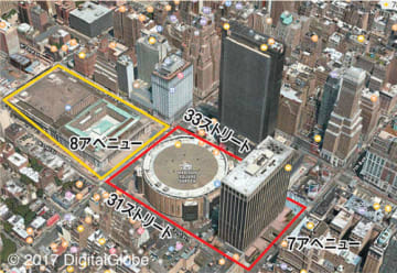 赤線が旧ペンステーションの駅舎があったエリア。黄線が中央郵便局ビル