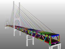 「デジタルツイン」技術を使い、コンピューター上で忠実に再現した東神戸大橋(阪神高速道路会社提供)