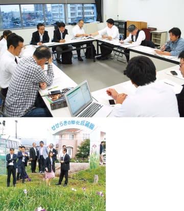 上:チームに分かれ意見交換をするメンバー(10月のミーティング)下:大井町の花菖蒲園の視察(5月)