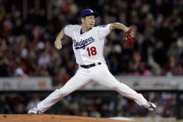 日米野球第4戦に先発したドジャース・前田健太【写真:Getty Images】