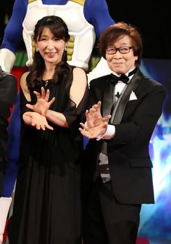 劇場版アニメ「ドラゴンボール超 ブロリー」のワールドプレミアイベントに登場した久川綾さん(左)と古川登志夫さん
