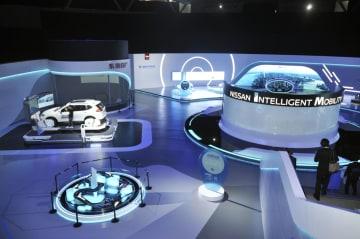 日産自動車が中国・広州に設けた新技術の体験施設(共同)
